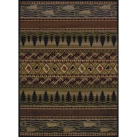 Pine Canopy Bighorn Fish & Paws Area Rug - 7'10 x 10'6