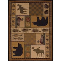 Pine Canopy Bighorn Forest Nature Area Rug - 5'3 x 7'2