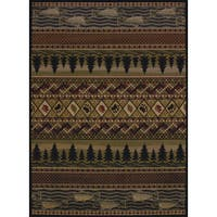 Copper Grove Bighorn Fish & Paws Area Rug - 5'3 x 7'2