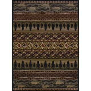 Pine Canopy Bighorn Fish & Paws Area Rug - 5'3 x 7'2