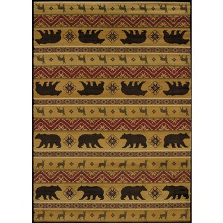 Harmony Bear and Deer Lodge Accent Rug (1'10 x 3')