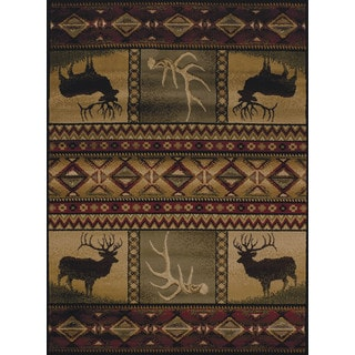 Harmony Buck N Antler Lodge Accent Rug (1'10 x 3')