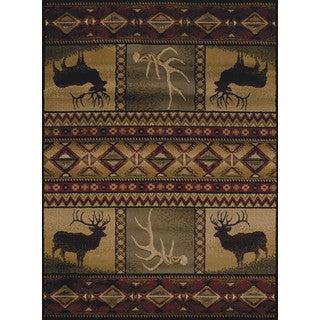 Pine Canopy Bighorn Antler Accent Rug - 1'10 x 3'