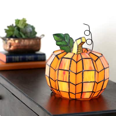 """9"""" H Patch the Pumpkin Stained Glass Accent Lamp - 8.25""""L x 8.25""""W x 9""""H"""
