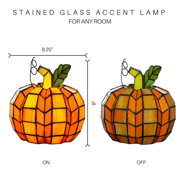 "9"" H Patch the Pumpkin Stained Glass Accent Lamp - 8.25""L x 8.25""W x 9""H"