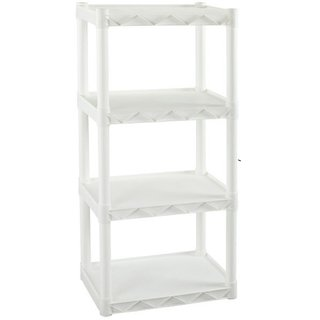 Plano 4 Shelves Interlocking Shelf Unit 19.25-inch x 11.13-inch White