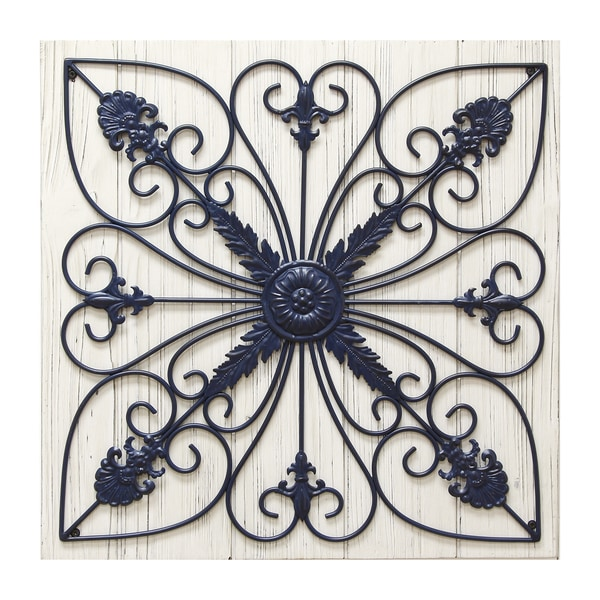 Stratton Home Decor Rustic Medallion Wall Art White ~ Stratton home decor scroll on wood panel wall free