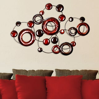 Clay Alder Home Eleventh Decor Red Metallic Circles Wall Décor