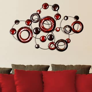 stratton home decor red metallic circles wall decor - Home Wall Decor