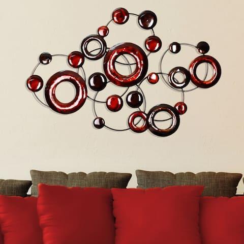 Porch & Den Eleventh Decor Red Metallic Circles Wall Decor