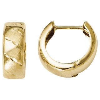 Versil 14k Yellow Gold Polished and Satin Hinged Hoop Earrings