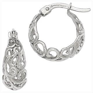 Versil 14k White Gold Polished Hoop Earrings