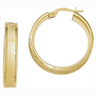 Versil 14k Yellow Gold Polished and Satin Hoop Earrings
