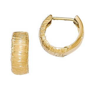 Versil 14k Yellow Gold Polished and Textured Hinged Hoop Earrings