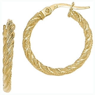Versil 14k Yellow Gold Textured Hoop Earrings