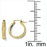 Versil 10k Yellow Gold Diamond-cut Hinged Hoop Earrings