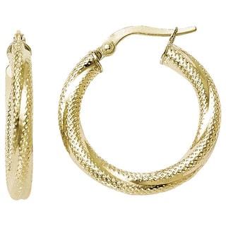 Versil 10k Yellow Gold Textured Hinged Hoop Earrings