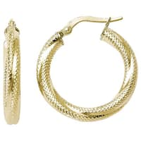 Versil 10 karat Yellow Gold Textured Hinged Hoop Earrings