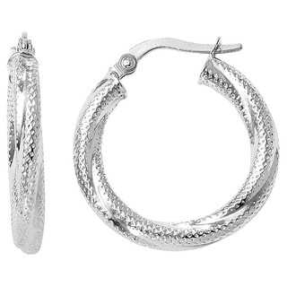 Versil 10k White Gold Textured Hinged Hoop Earrings