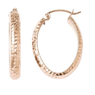 Versil 10k Rose Gold Diamond-cut Oval 24mm Hoop Earrings