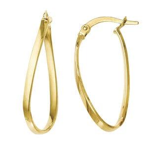 Versil 14k Yellow Gold Polished Oval Teardrop Hoop Earrings