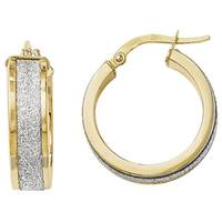 Versil 14k Yellow Gold Fancy Glimmer Infused Hoop Earrings