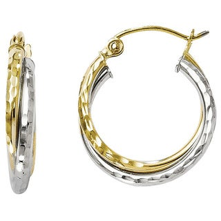 Versil 10k Two-tone Gold Diamond-cut Hinged Hoop Earrings