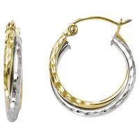 Versil 10k Two-tone Gold Diamond-cut Hinged Hoop Earrings
