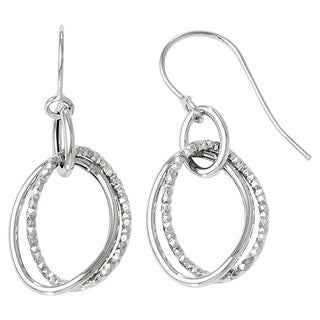 Versil 10k White Gold Polished and Textured Shepherd Hook Earrings