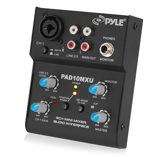 Pyle PAD10MXU 2 Channel Mini Mixer With USB Audio Interface