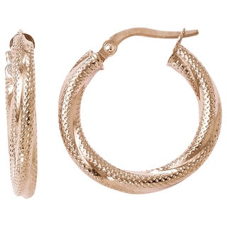 Versil 10k Rose Gold Textured Hinged Hoop Earrings