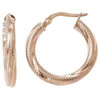 Versil 10k Rose Gold Textured Hinged Hoop Earrings