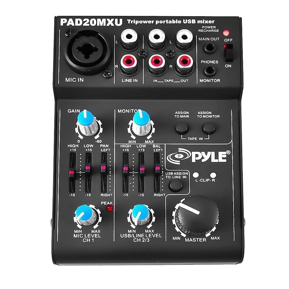 Pyle PAD20MXU 5 Channel Professional Compact Audio Mixer ...