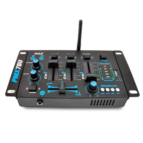 Pyle PMX7BU Bluetooth 3-Channel DJ MP3 Mixer, Mic-Talkover, USB Flash Reader, Dual RCA and Microphone Inputs, Headphone Jack