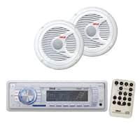 Pyle KTMRGS115 AM FM Tuning Radio w SD MMC  USB  150 Watts 2 Way White Marine Speakers