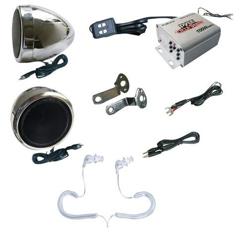 Pyle KTMRGS05 Complete Pyle Weatherproof Mp3/ipod Speaker Kit for Motorcycle, Motorbike, Atv, Boat, Snowmobile - 100w Amplifier