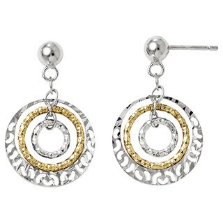 Versil Sterling Silver Goldtone Flash-plated Post Dangle Earrings
