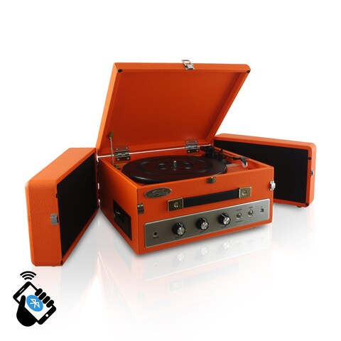 Pyle PLTT82BTOR Retro Vintage Classic Style Bluetooth Turntable Record Player with Vinyl-to-MP3 Recording (2 Color Options)