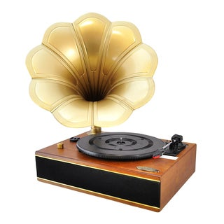 Pyle PNGTT12RBT Vintage Classic Style Bluetooth Turntable Gramophone Phonograph Vinyl Record Player with Vinyl-to-MP3 Recording