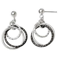 Versil Sterling Silver Ruthenium-plated Post Dangle Earrings