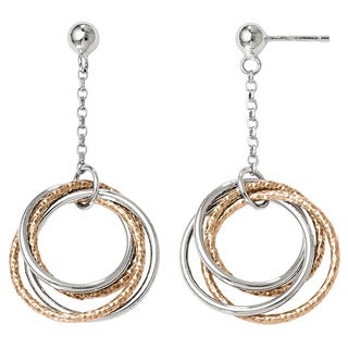 Versil Sterling Silver Rose-tone Flash-plated Post Dangle Earrings