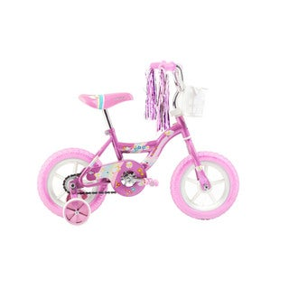 Micargi Kids Pink Girls 12-inch Bicycle with Training Wheels and Front Basket