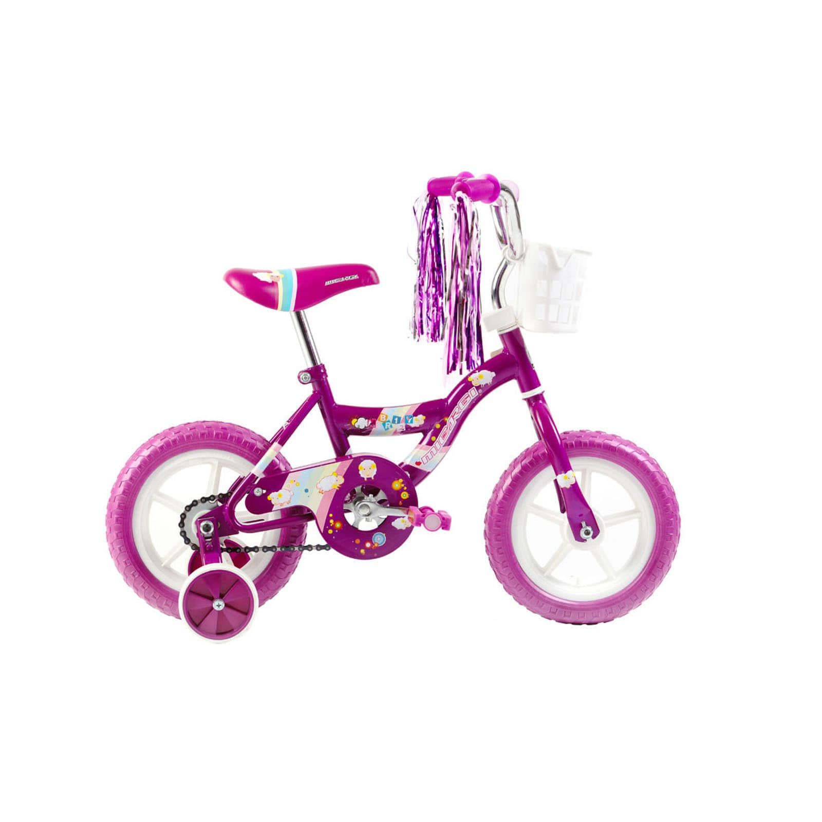 Micargi Kids Girls 12-inch Bicycle with Training Wheels a...