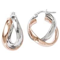 Versil Sterling Silver Rose Goldplated Double Hoop Earrings