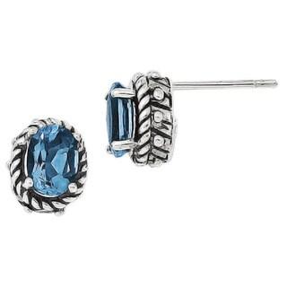 Versil Sterling Silver Blue Topaz Earrings