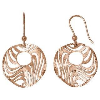 Versil Sterling Silver Rose-tone 18k Flash-plated Earrings