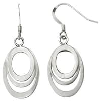 Versil Sterling Silver Polished Shepherd Hook Dangle Earrings