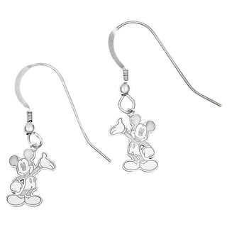 Versil Sterling Silver Waving Mickey Mouse Charm Dangling Earrings