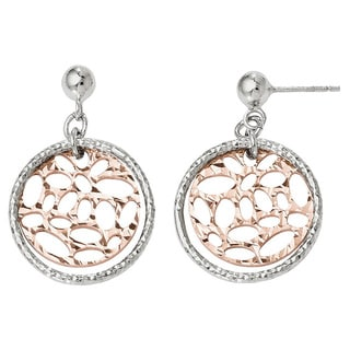 Versil Sterling Silver Rose-tone Flash-plated Post Earrings