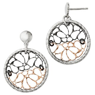 Versil Sterling Silver Ruthenium and Rose-tone Flash-plated Earrings